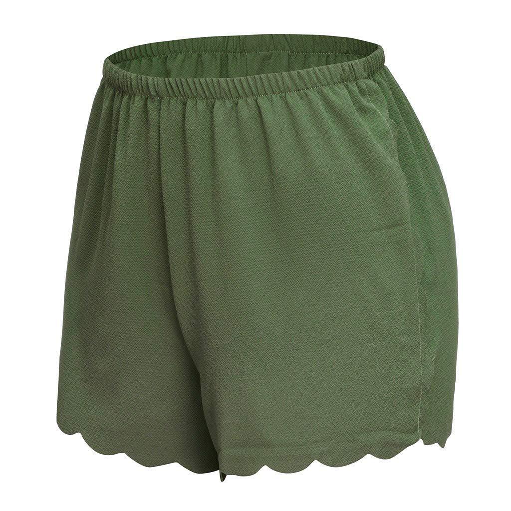 CCatyam Short Pants for Women Plus Size Yoga Shorts Trousers Chiffon Elastic Waist Solid Casual Fashion
