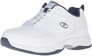 Propét Men's Warner Walking Shoe, White/Navy, ...