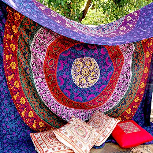 FLY SPRAY Indian Mandala Beach Throw Large Tapestry Purple Print Retro Hippy Gypsy Colorful Tablecloth Turban Blanket Shawl Beach Vacation Yoga Mat ()