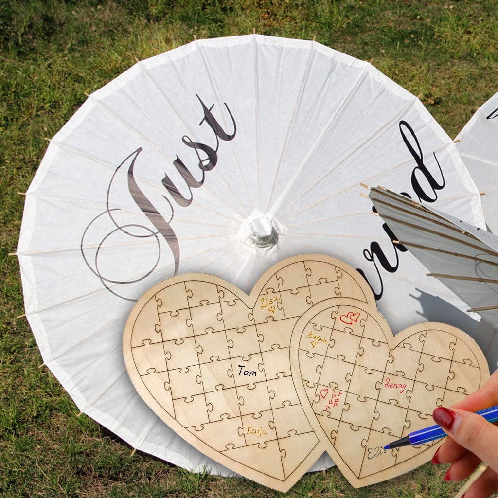 100 Wooden Hearts Guestbook Gift Party Wedding Guest Book Well Wishes Jar New