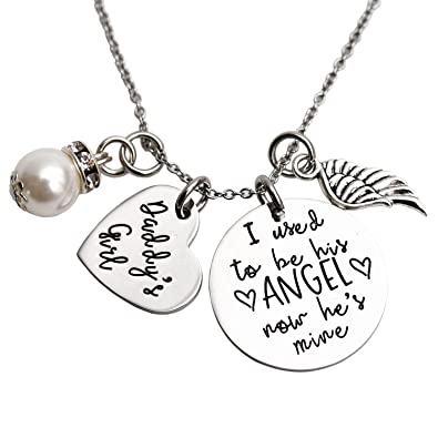 I Used To Be His Angel Now He's Mine Angel Necklace Wing Heart Charm Memorial Jewelry Smpathy Gift Loss Of Dad Father Funeral Gifty zY69Cz8