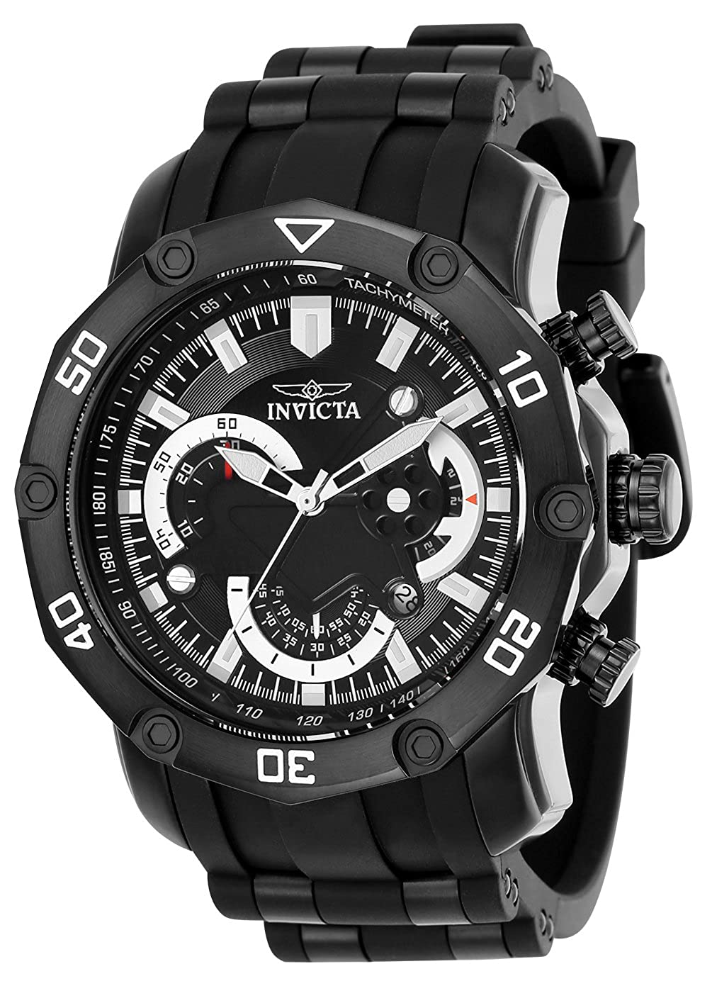 Invicta Men s Pro Diver Stainless Steel Quartz Watch with Silicone Strap, Black, 0.95 Model 22799