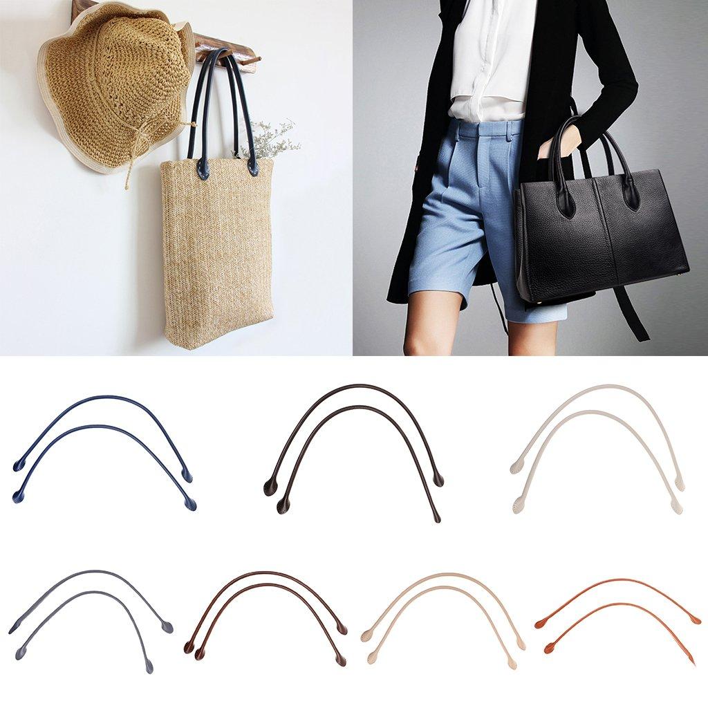MagiDeal 2pcs DIY Real Leather Purse Bag Handles Straps for Handbag Accessories Ear Shape Beige