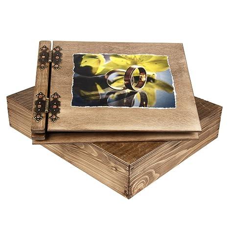 Grueso 50 hojas madera álbum de boda con fondo de madera caso, anillos de boda