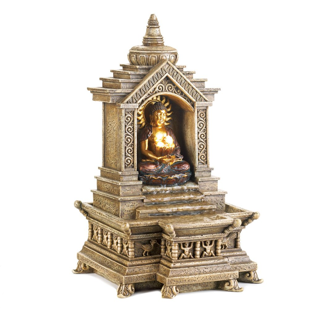 Smart Living Company 10014773 Golden Buddha Temple Tabletop Water Pump Cascading Blessings Fountain, Multicolor