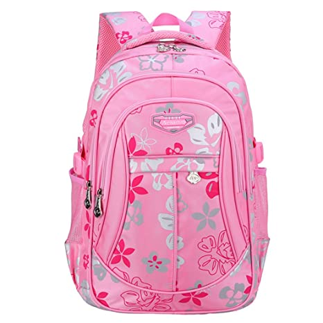fe3e018eb7 Amazon.com  Tinksky Flowers Pattern Backpacks for Girls Elementary School  Students Book Bag Pink  Toys   Games