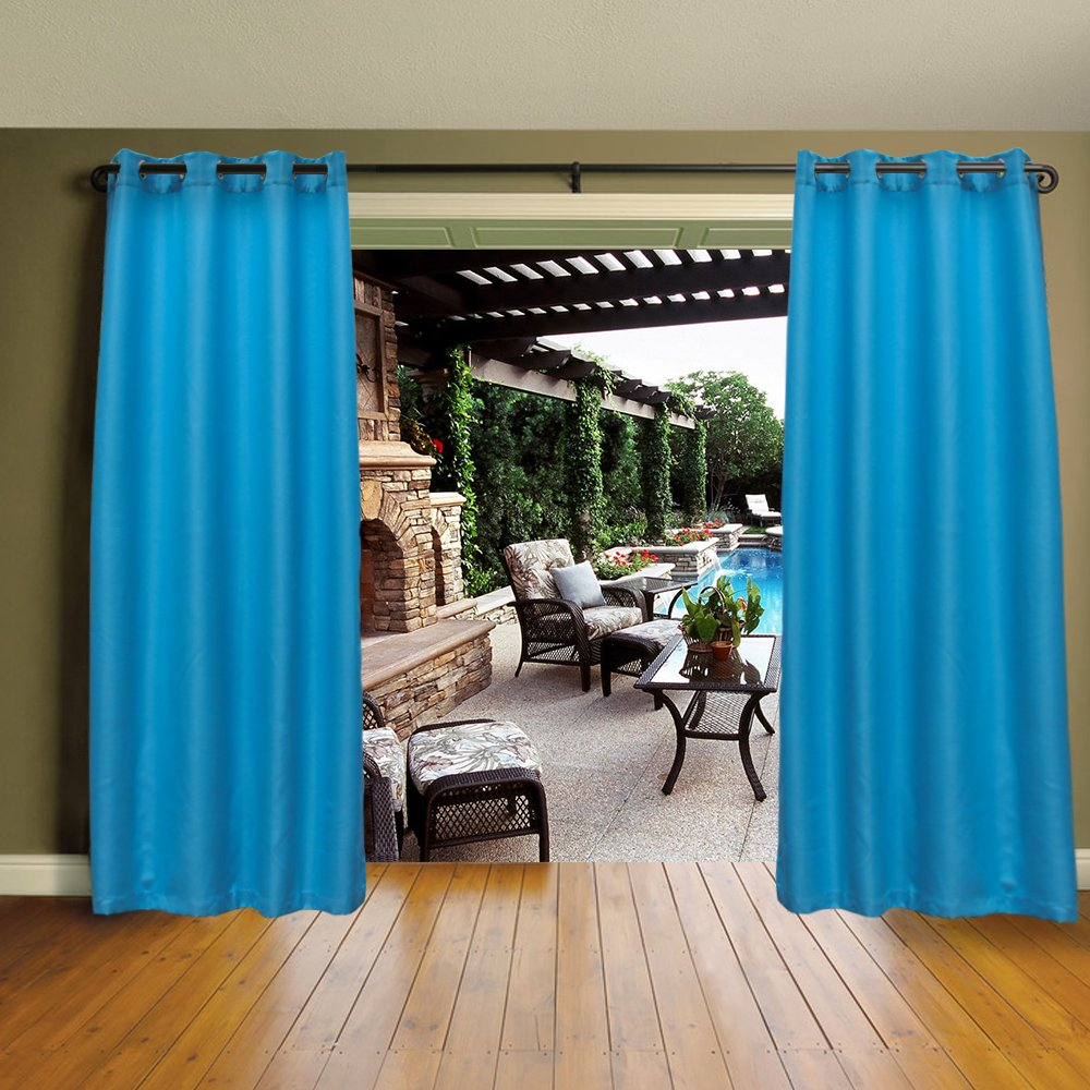 Cross Land Outdoor Curtains UV Protection Thermal Insulated for patio,garden (54''x 84'', Blue)