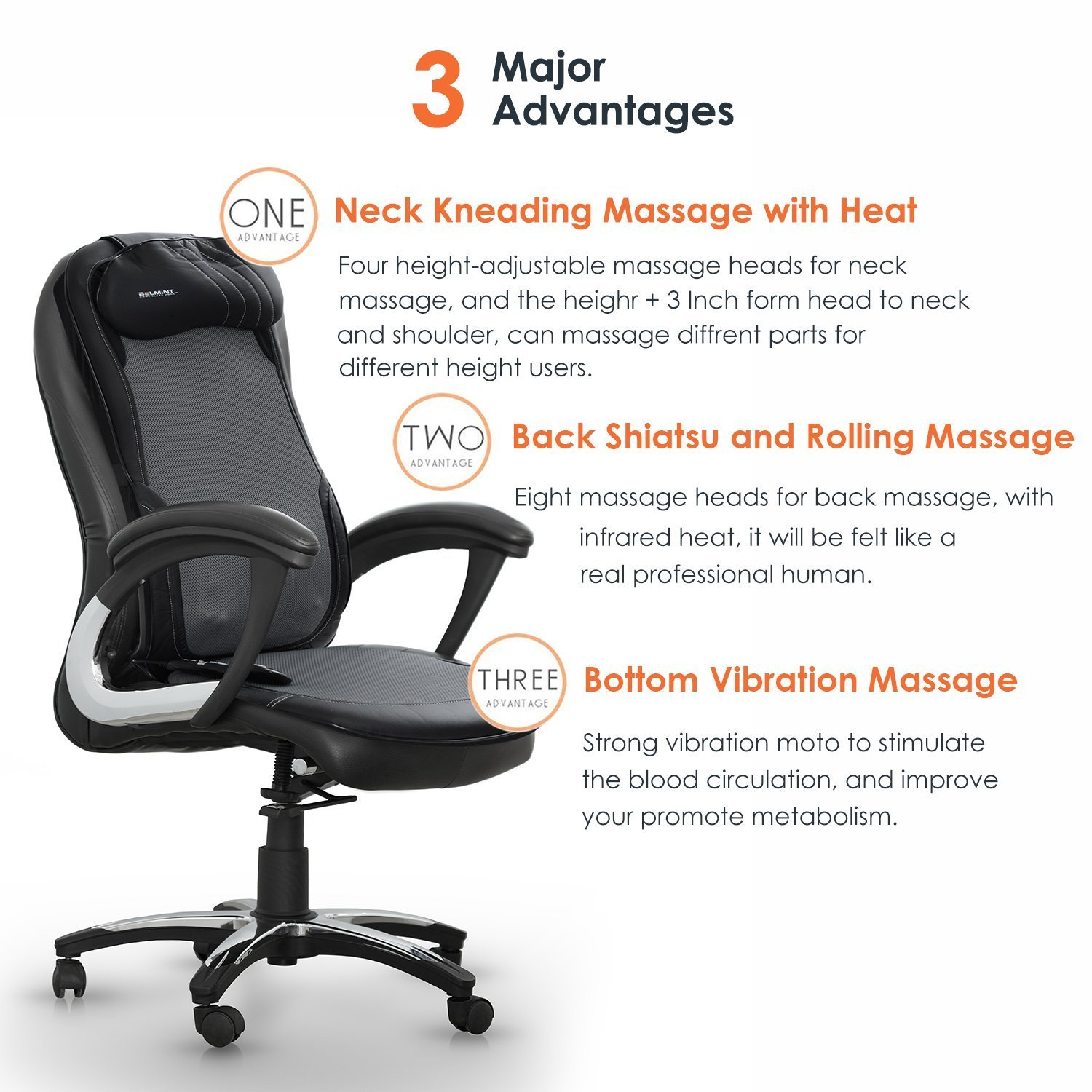 amazoncom shiatsu back massager cushion with soothing heat function for relieving stress and muscle tension massaging cushion with 3 massage styles