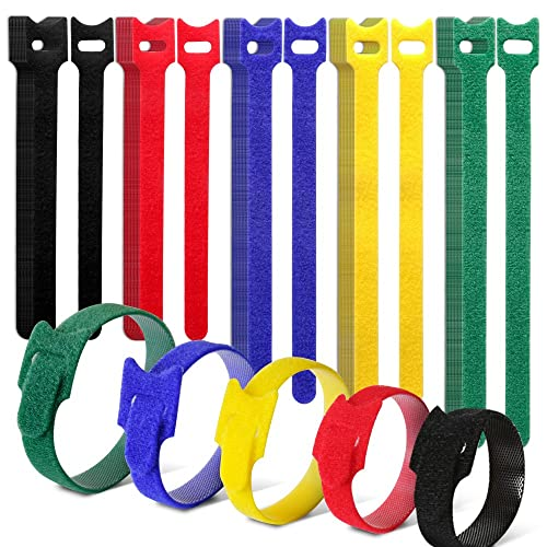 Teenitor 50 Pieces Colorful Reusable Cable Ties 6/7.1/8 Inch Assorted Sizes Fastening Ties Cable Hook and Loop Cable Ties with Special Design 5 Colors(Black Green Yellow Red Blue)