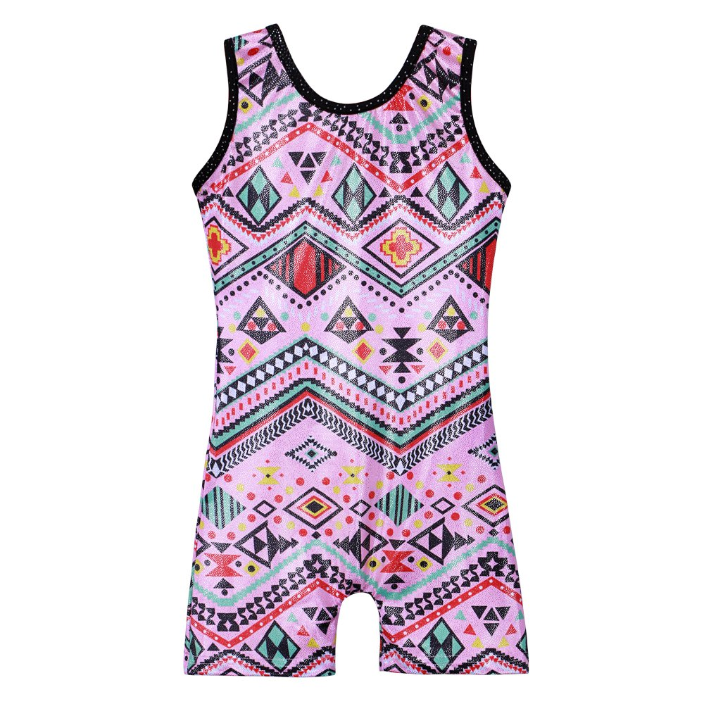 Girls gymnastics leotards size 6-7 year old pink tumbling leotard with shorts for kids by HOZIY