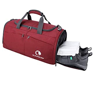 Canway Sports Gym Bag, Travel Duffel bag with Wet Pocket & Shoes Compartmentfor men women, 45L, Lightweight