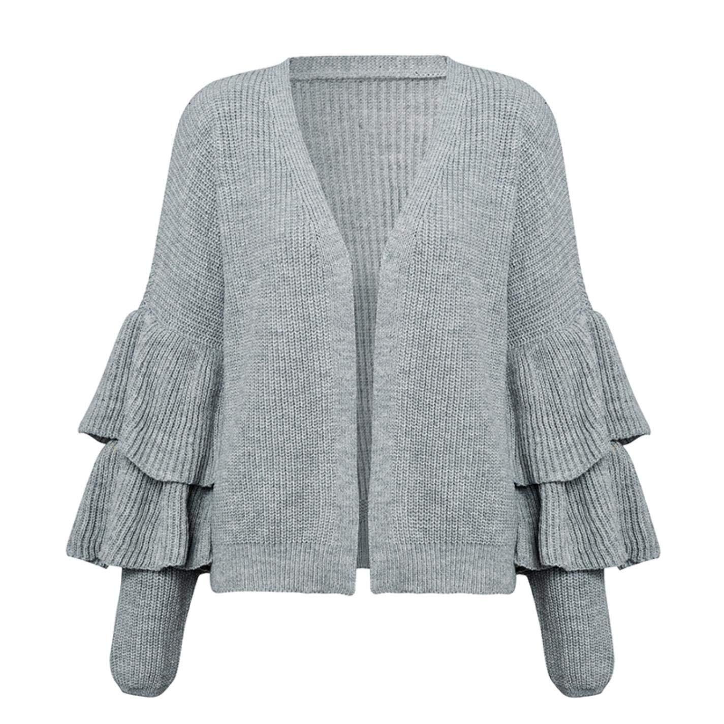 PjBWoEMP Womens Casual Street Ruffled Loose Long Sleeve Sweater