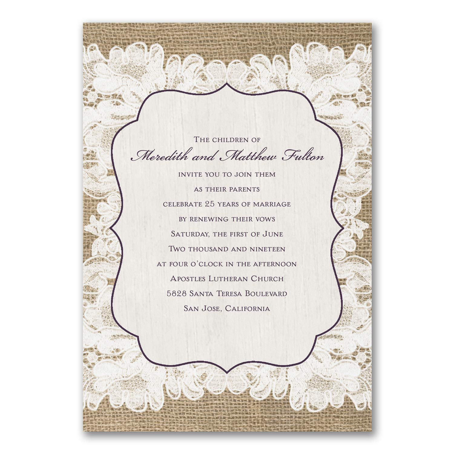 Amazon Com 125pk Weathered Lace Vow Renewal Invitation Vow