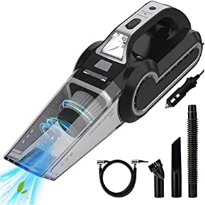 ROGOB 4-in-1 Portable Car Vacuum Cleaner with Searchlight,Tire Pressure Gauge and Car Inflator,High Power Corded Handheld Vacuum 6500Pa Powerful Suction Cleaning Car Interior Wet and Dry