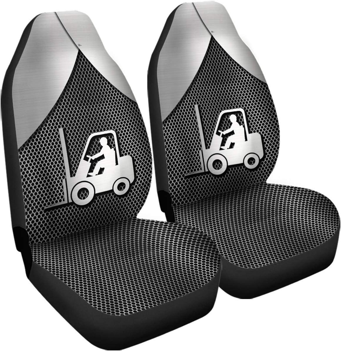 Fundas de asiento compatibles con airbag de metal plateado 3D para conductor de carretilla elevadora, tamaño de accesorios de coche, ajuste universal para la mayoría de los coches, SUV, camiones