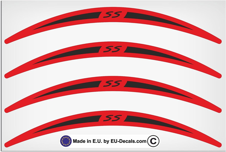 Eu Decals Miovespa Collection Ss 4x Felgenrandaufkleber Lang Schwarz Auf Rot Für Vespa Gts 300 Super Sport Aufkleber Laminiert Auto