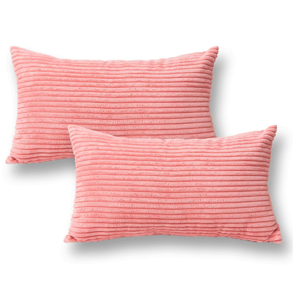 Jeanerlor 2 Pcs Corduroy Throw Pillow Cover Cushion Case from Home Decor for Toddler (Boy or Girl), 12x20 inch (30 x 50 cm), Pink