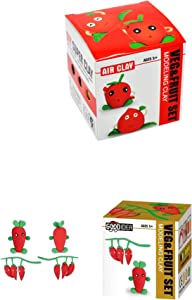 Veggies & Fruit Air Drying Clay Set of 2 Molding play-dough kits - create carrots & Strawberry - fun arts & craft kid's toy project Clay modeling play-set