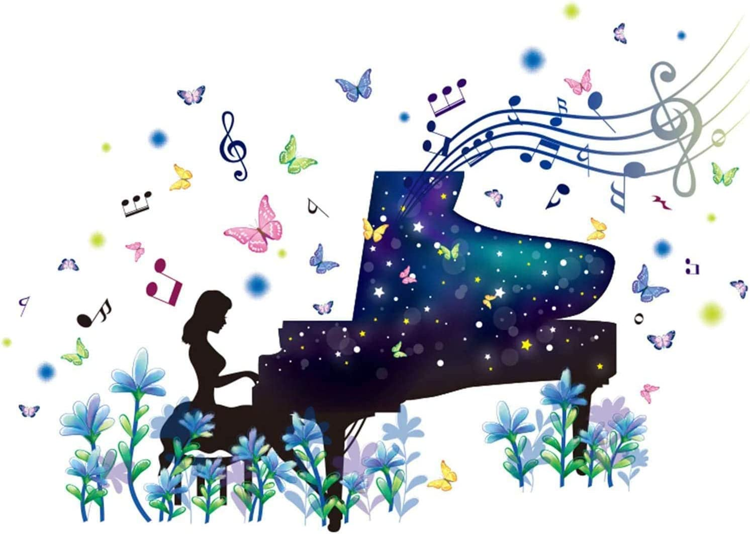 SENGTER Piano Girl Wall Decals Removable Wall Murals Peel and Stick Wallpaper Self-Adhesive Wall Stickers Wall Art Wall Posters Wall Decor for Bedroom Teen Girl Living Room Dance Room Home