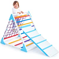 Triangle Climber with Ramp - Premium Wooden Climbing Triangle for Sliding and Climbing - 2 in 1 Stable Toddler Climber…