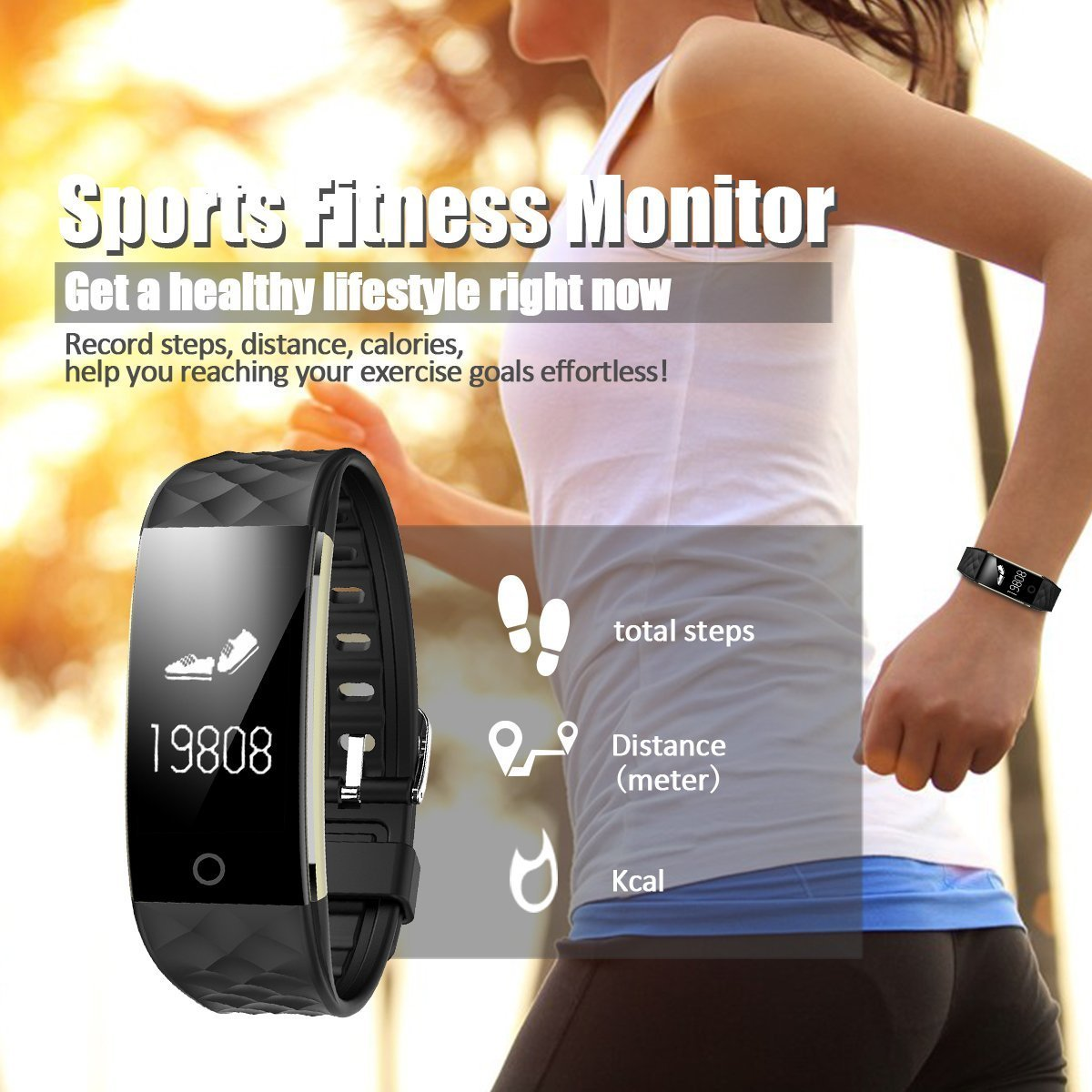 Fitness Tracker,SinoProHeart Rate Monitor Smart BraceletIP67 Waterproof Fitness Wristband with OLED Touch ScreenStep TrackerSleep MonitorCall Reminder for iPhoneAndroid Smartphones (Black)