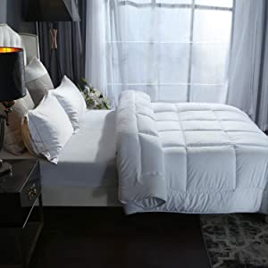 White Down Alternative Comforter,Hypoallergenic, Lightweight All Season Hotel Bed Comforter, Quilted Duvet Insert with 300GSM Plush Microfiber Fill and Corner Tabs,Machine Washable,White,King