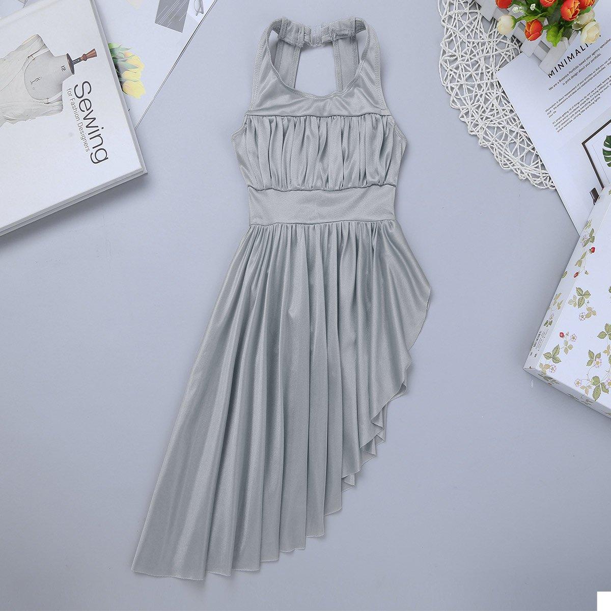 CHICTRY Kids Girls Lyrical Dance Dress Criss-Cross Back Irregular High-Low Skirt Ballroom Dancing Costumes