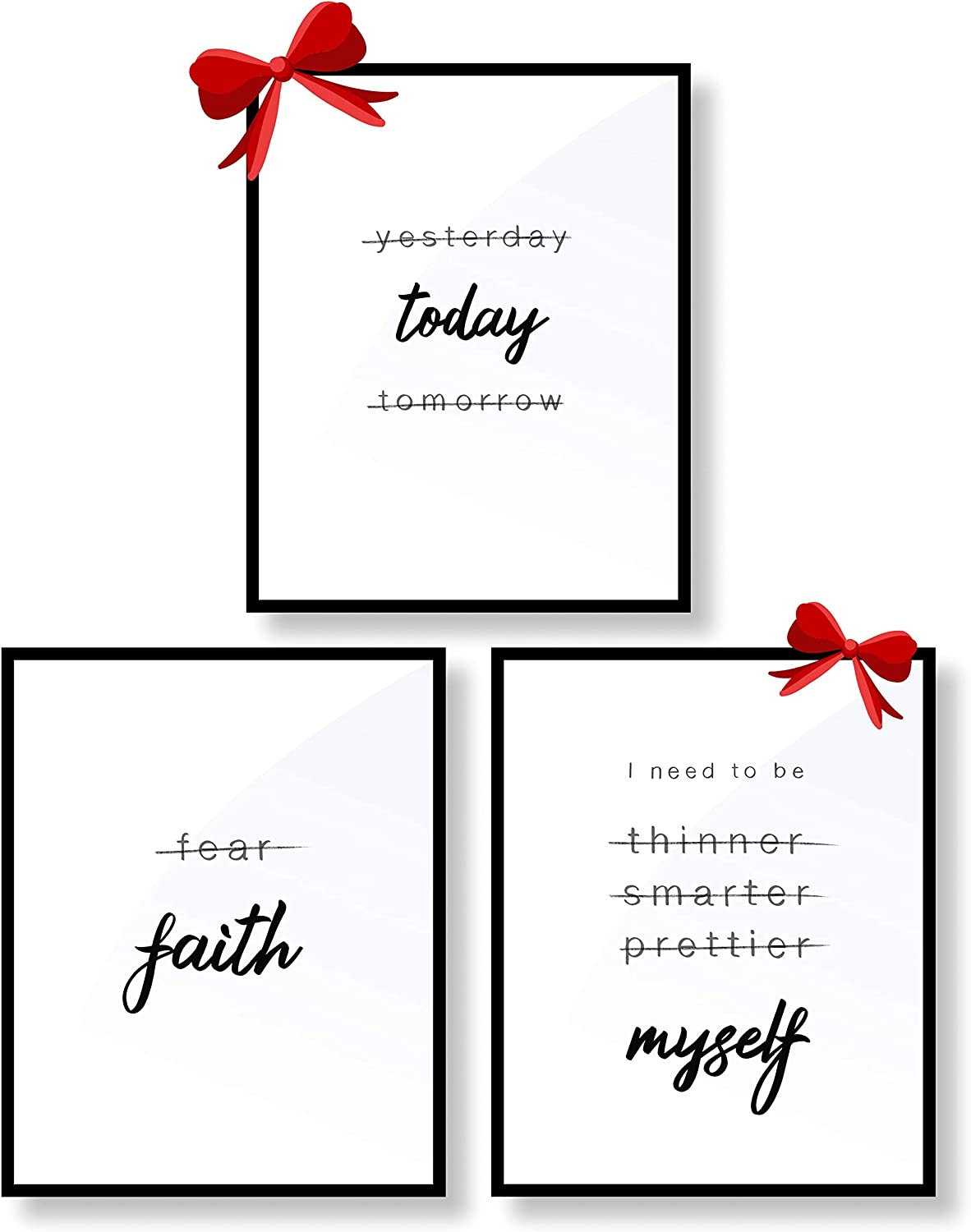 "InsightOut Framed Wall Art Decor | Inspirational Bedroom Poster | Positive Quotes | Minimalist, Black /White Prints | Simple Word Signs | Home Office/Kitchen/Bathroom (8 x 10"", Set of 3)"