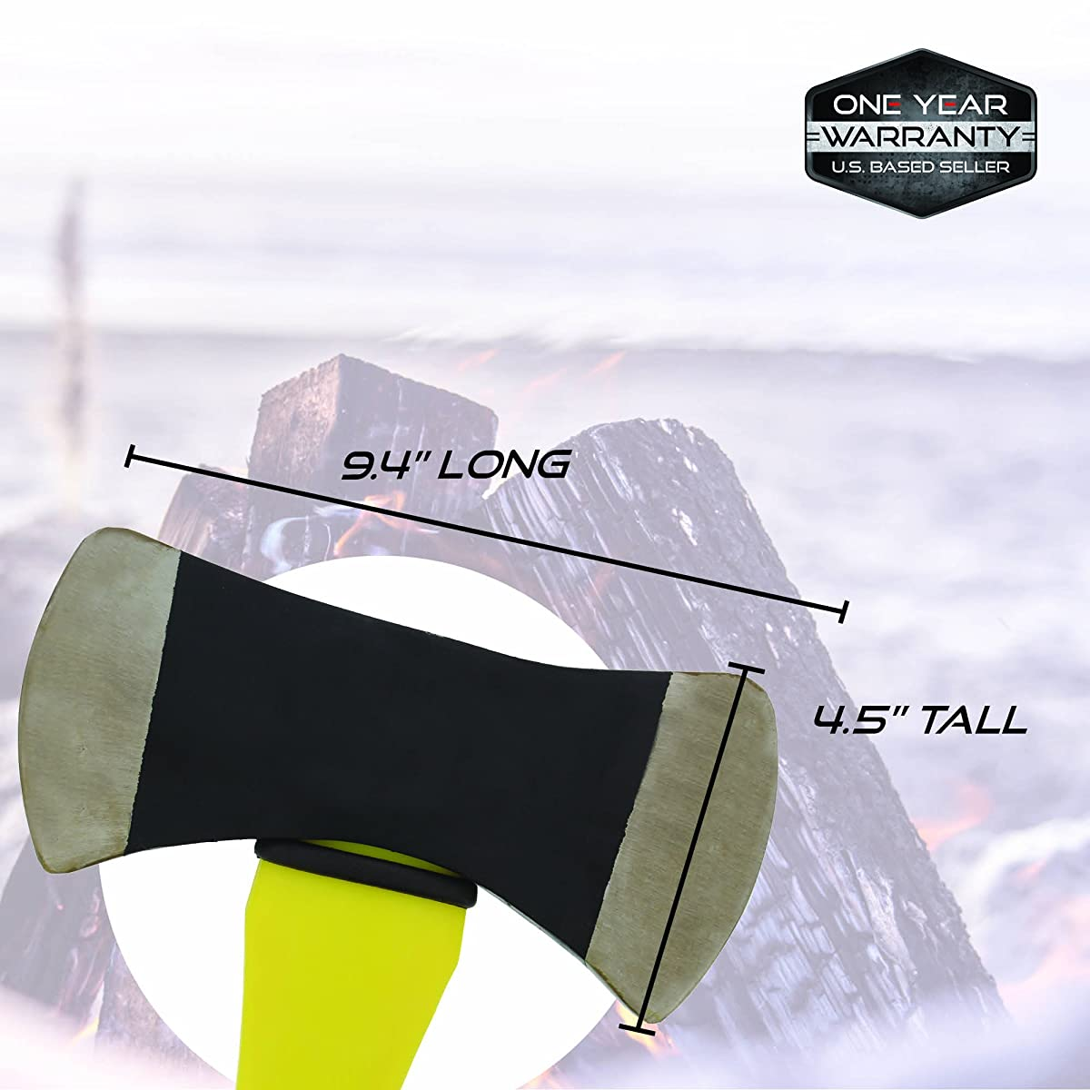 Double Sided Head 3.5lb Pound Axe & Handle – Michigan Firefighter Ax Camping Splitting, Felling, Chopping, Cutting Wood