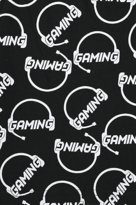 Boys Cool Id Rather Be Gaming Black Cotton Short Pyjamas