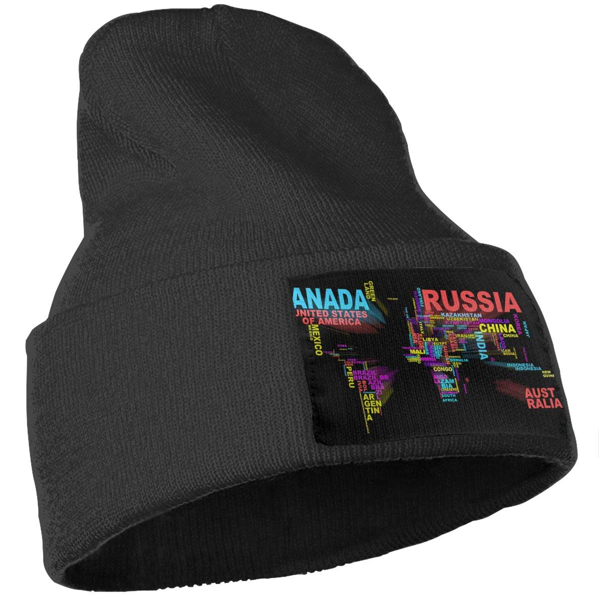 JimHappy Map of Letters Hat for Men and Women Winter Warm Hats Knit Slouchy Thick Skull Cap Black