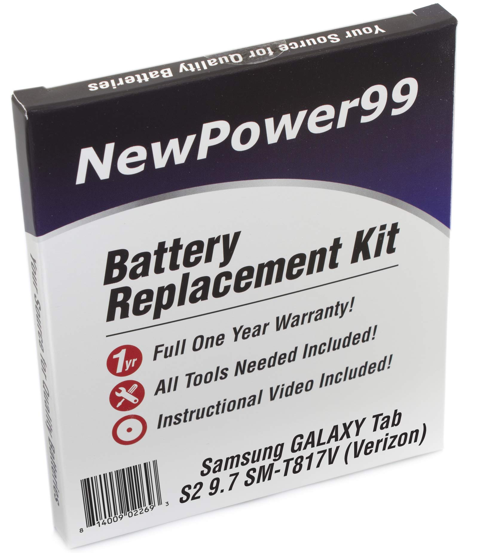NewPower99 Battery Replacement Kit for Samsung Galaxy Tab S2 9.7 SM-T817V with Video Installation DVD, Installation Tools, and Extended Life Battery