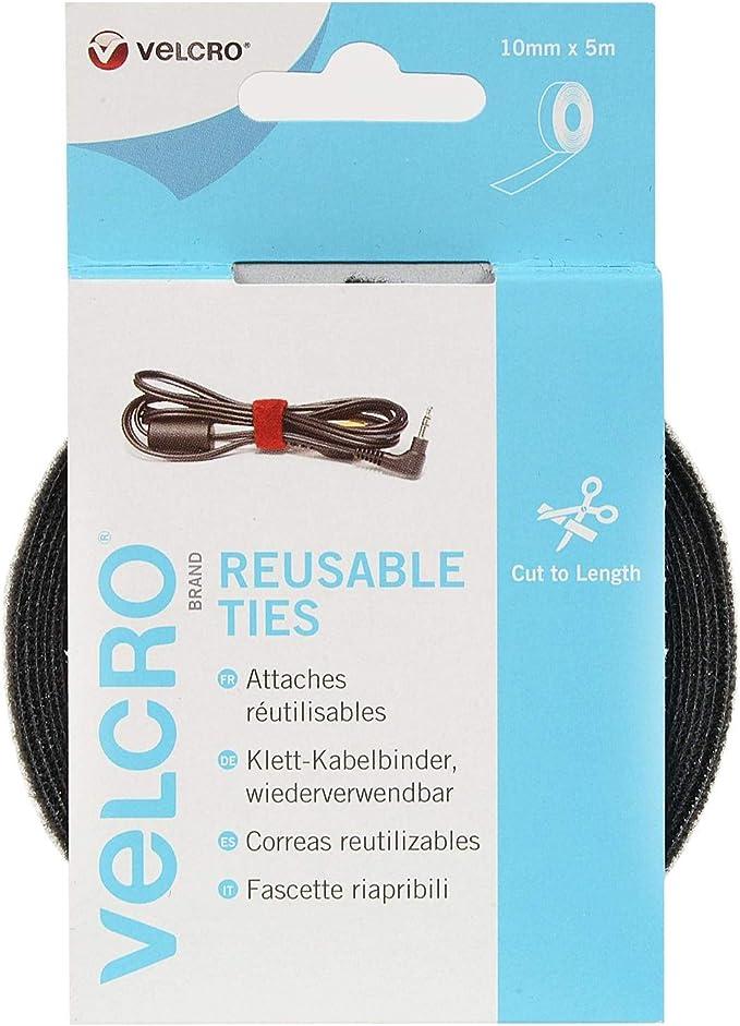 VELCRO Brand Correas reutilizables 10mm x 5m Negro