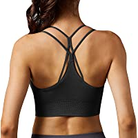 Vertvie 1/2/3 Pack Sports Bras for Women Crisscross Back Wirefree Camisole Bra Removable Cups Workout Crop Top Yoga Bra