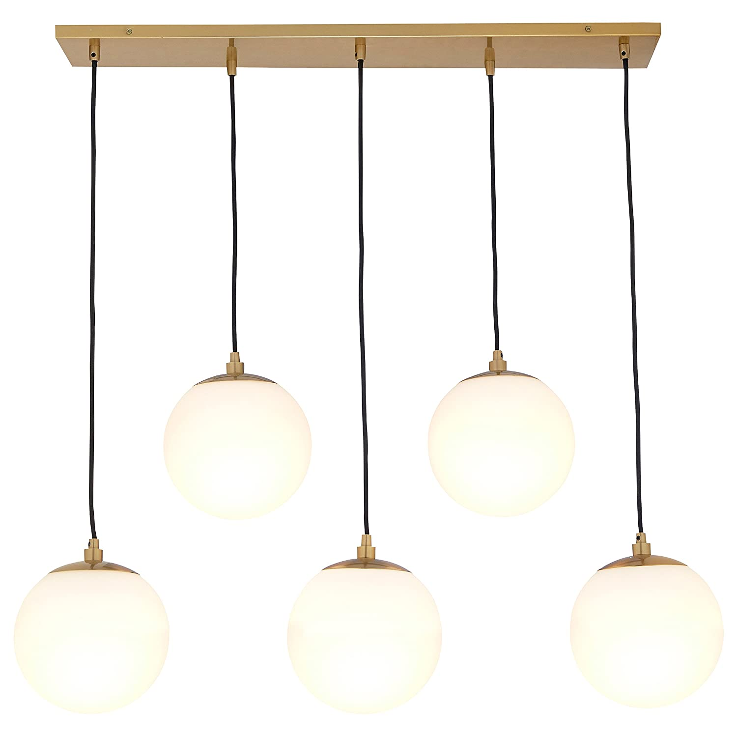 36H Rivet Eclipse 5-Globe Brass Pendant Chandelier Brass with Frosted Glass Globes