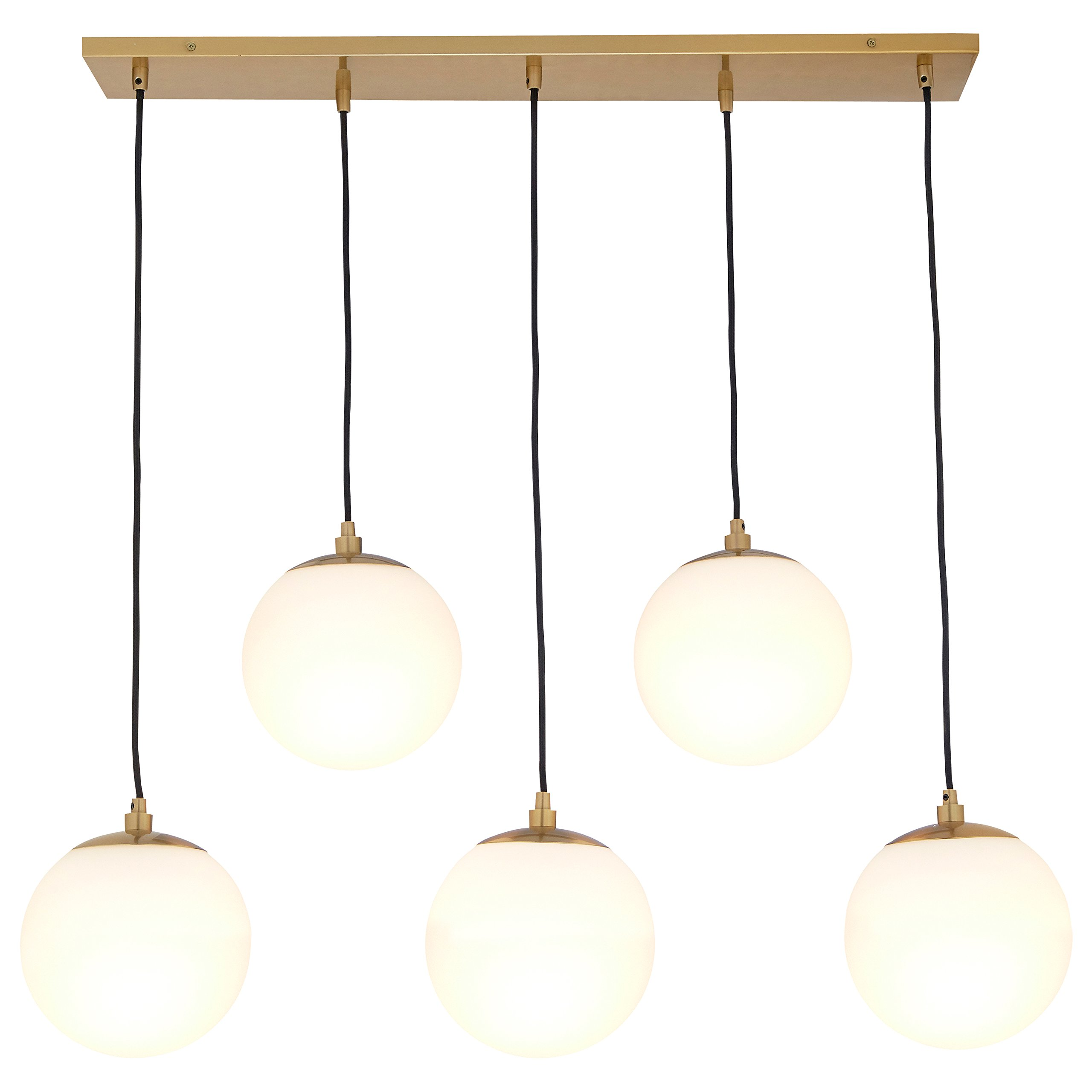 Rivet Eclipse 5-Globe Brass Pendant Chandelier, 36''H, Brass with Frosted Glass Globes