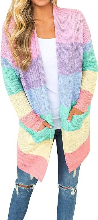 Dresswel Women Rainbow Cardigan Striped Knitwear Open Front Long Sleeve Knitted Sweater Ladies Coat with Pockets