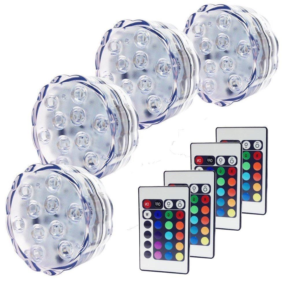 CDQ Multicolor 4 Stück LED Wasserdicht batteriebetrieben Tauchpumpe Licht LED Accent Beleuchtung Nacht licht Mood Beleuchtung mit IR-Fernbedienungen für Hochzeit, Mittelpunkt, Halloween, Party (6,9 x 2,7 cm)