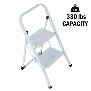 Lucky Tree Folding 2 Step Stool Lightweight White Steel Step Ladder with Anti-Slip Wide Pedal Multi-Use for Home Portable Stepladder 330 lb Capacity