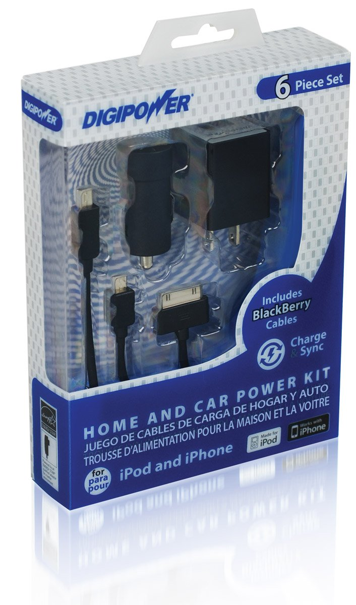 DigiPower IP-PK1 Home and Car Smartphone Power Kit Charger, Retail-Packaging, Black