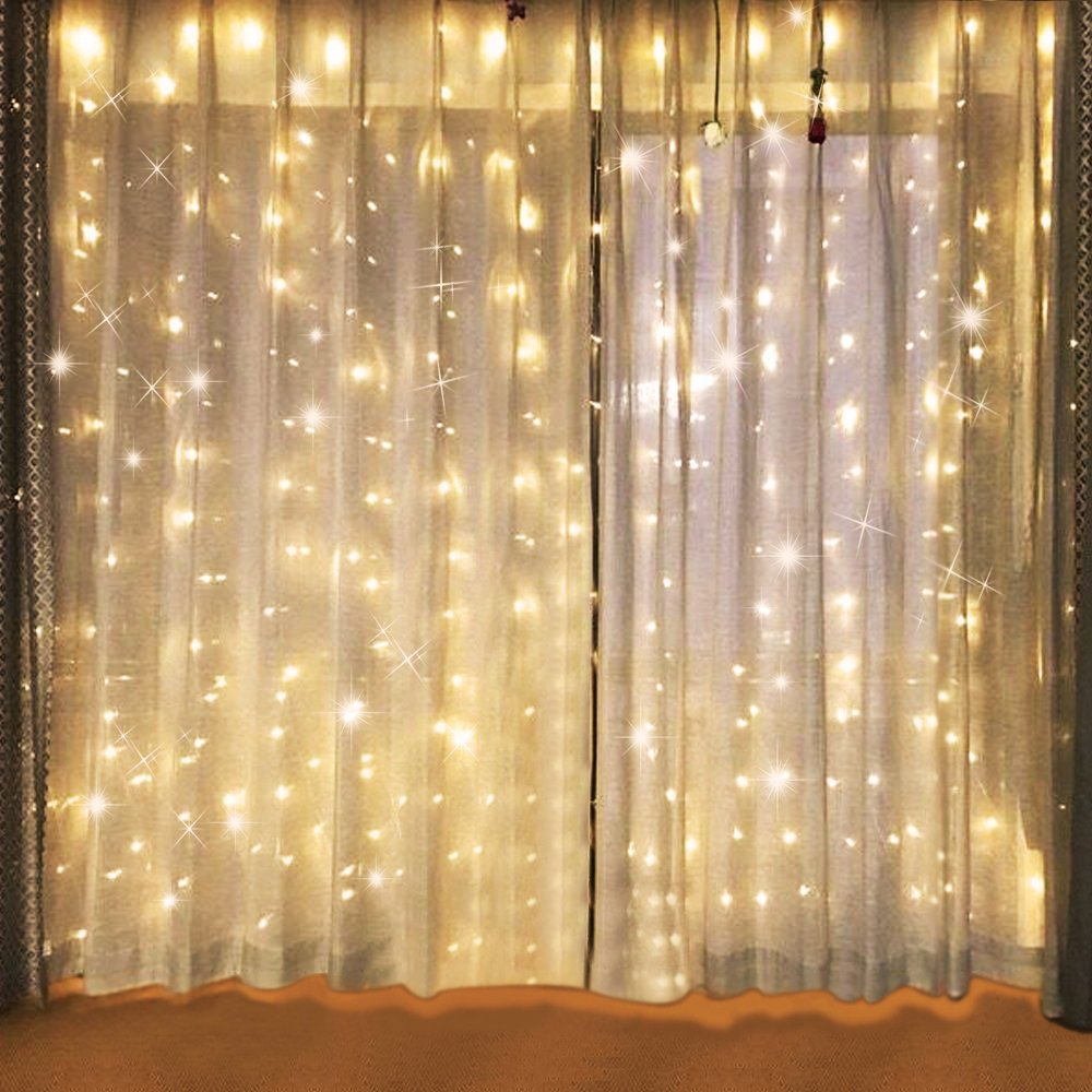Bjour BGGD-61 18W Curtain Icicle Lights Christmas String Fairy Light Warm White, 600 LEDs, 8 Lighting Modes, 20ft Length x 10ft Width