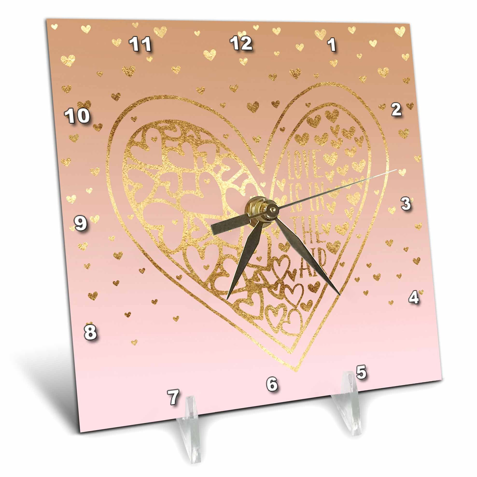 3dRose PS Inspiration - Image of Gold Pink Heart Love is in the Air - 6x6 Desk Clock (dc_280739_1)