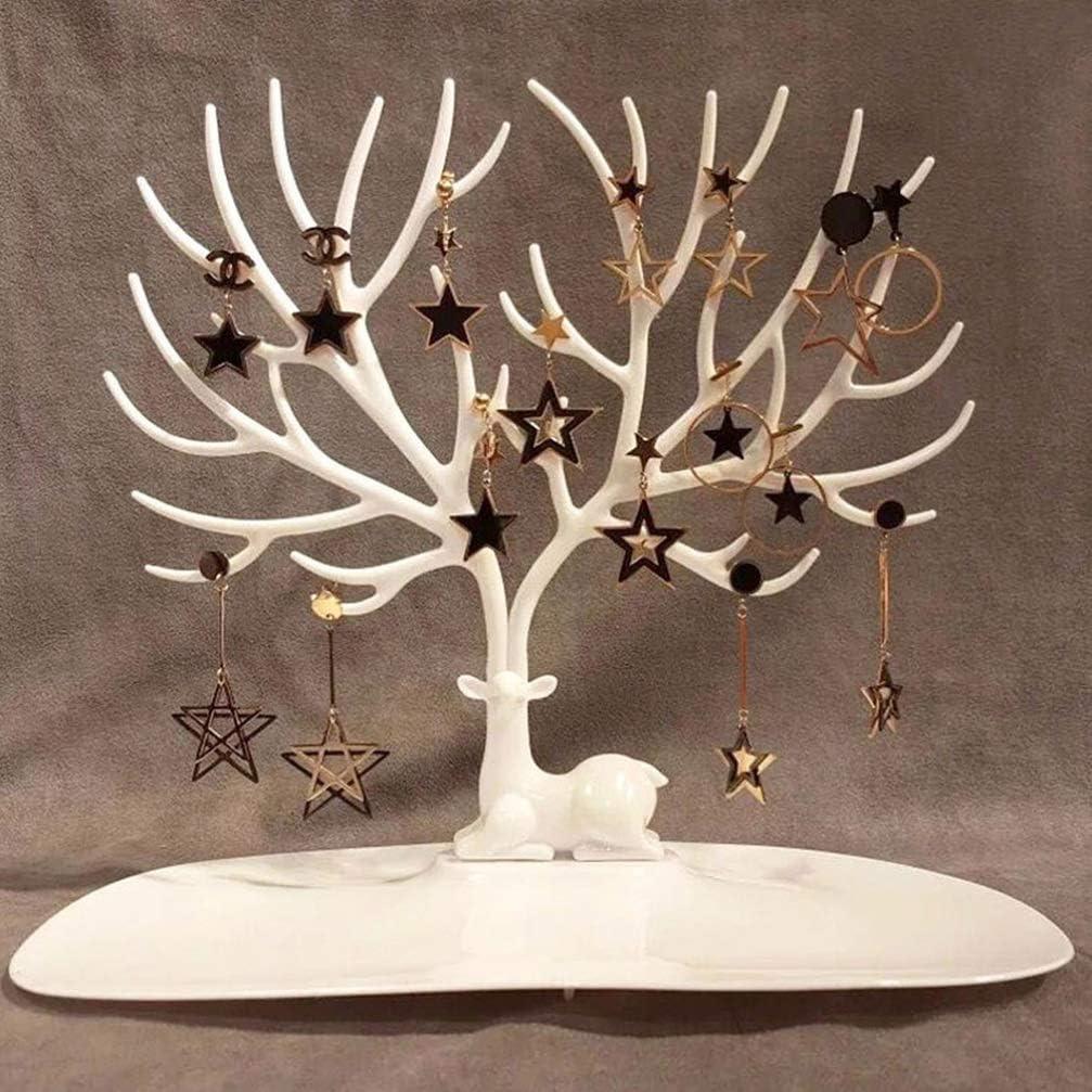 Holibanna 2 Piezas Soporte para /Árbol de Joyer/ía Titular de Pendiente de Navidad Reno Cuerno de /Árbol Organizador de Joyer/ía Rack Torre Regalos para Collares Pendientes Pulseras