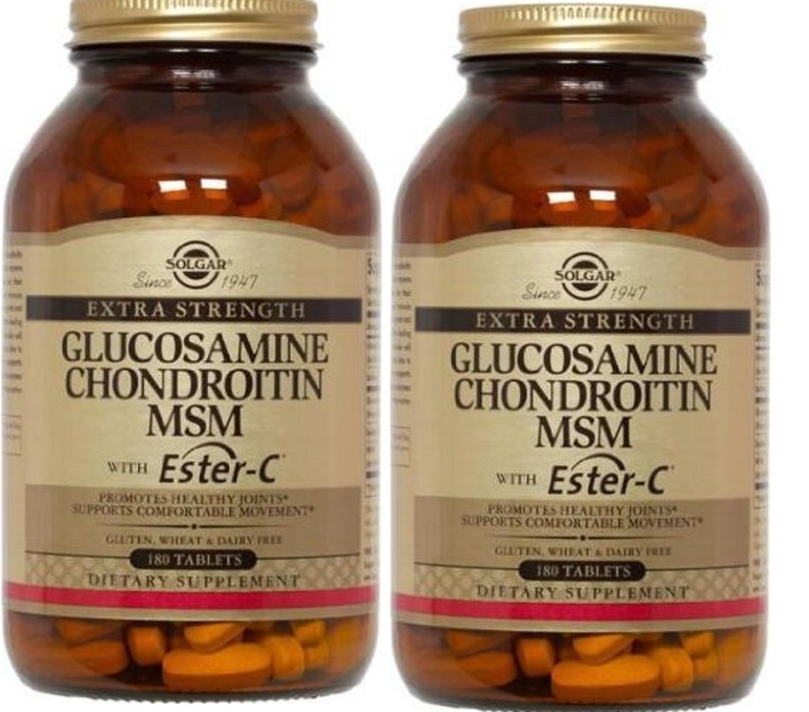 Solgar Extra Strength Glucosamine Chondroitin MSM with Ester-C, 180 Tabs (Pack of 2)