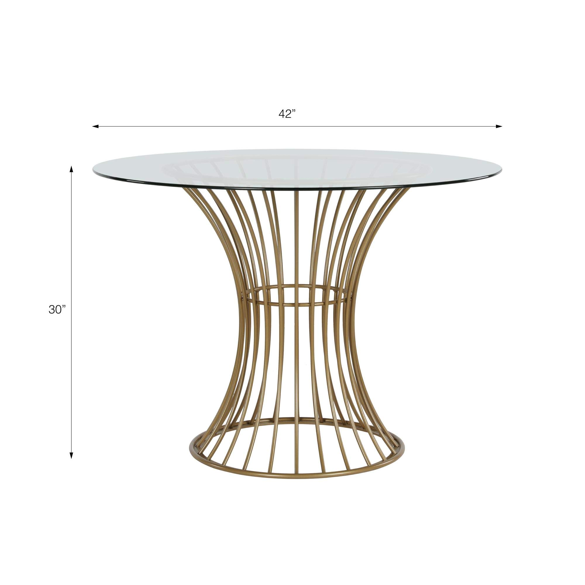 CosmoLiving Westwood Modern Clear Tempered Glass Round Top Dining Table with Hourglass Gold Base - Brass by CosmoLiving by Cosmopolitan (Image #7)