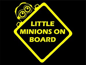 "Diamond Graphics Little Minions On Board (6"" X 6"") Yellow Die Cut Decal Bumper Sticker for Windows, Cars, Trucks, Laptops, Etc."