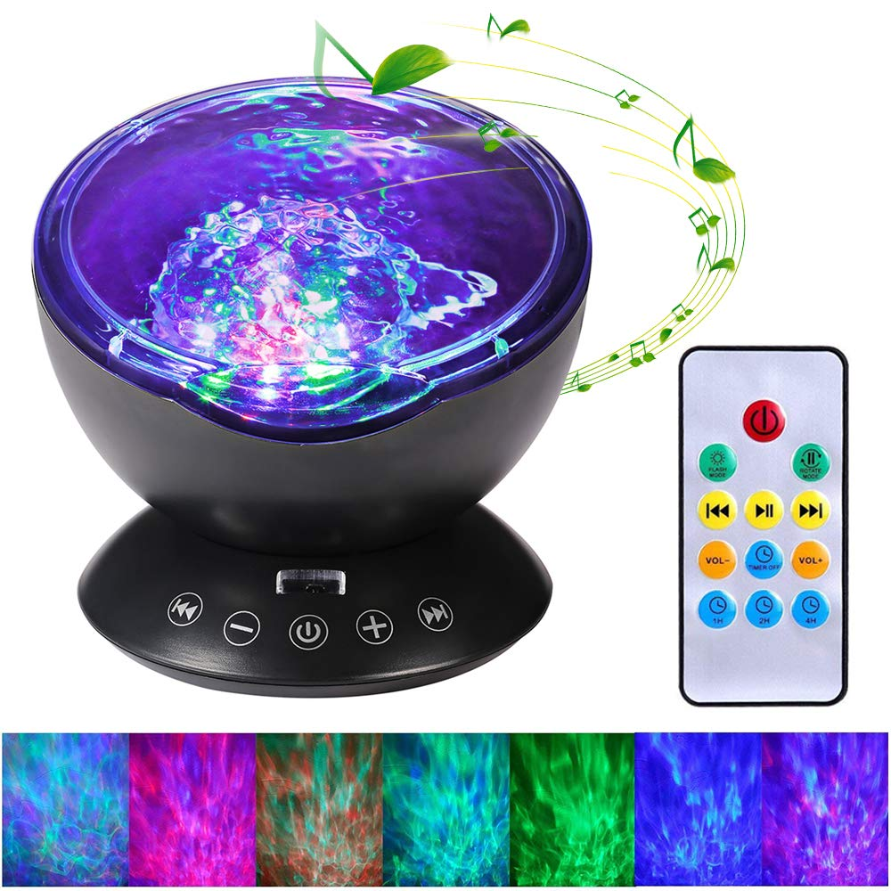 Remote Control Ocean Wave Projector, Hallomall 12LED Night Light Lamp with Built-in Music Player, 7 Color Changing Lighting Modes, Perfect Choice for Baby Nursery Bedroom Living Room(Black)