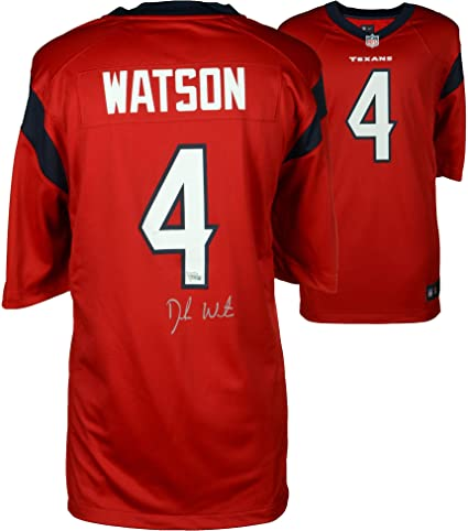 new concept f2bff 0f7fa Deshaun Watson Houston Texans Autographed Nike Red Game ...