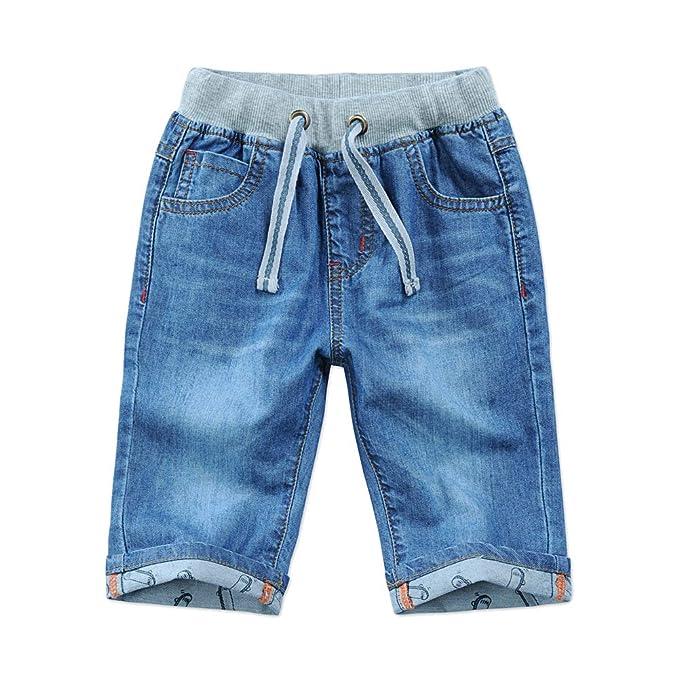 0bf04a9648 Boys Kids Pull On Denim Adjustable Half Length Summer Jeans Shorts