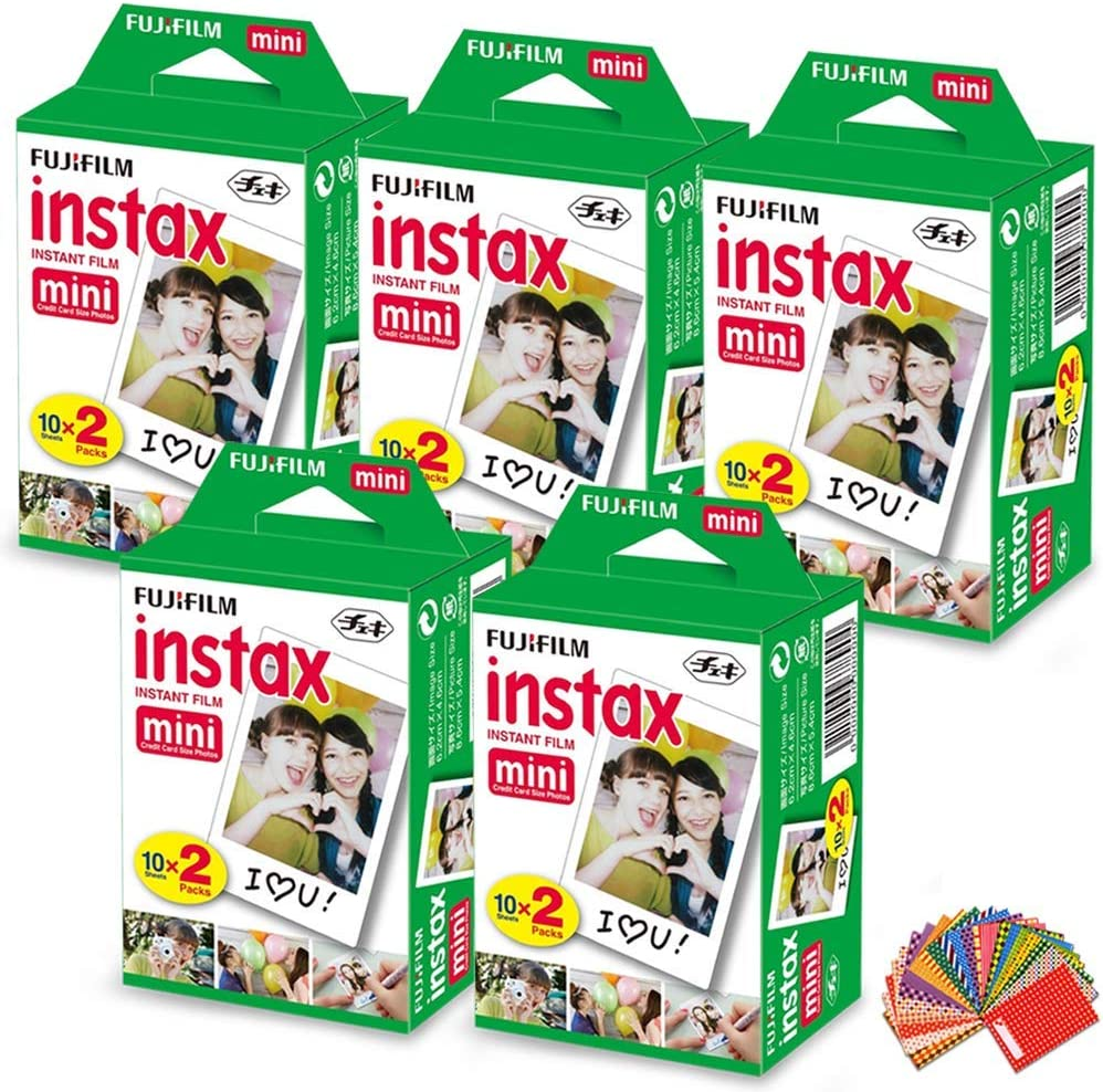 FujiFilm Instax Mini Instant Film 5 Pack (5 x 20) Total of 100 Sheets + 120 Assorted Colorful Mini Photo Stickers - Compatible with FujiFilm Instax ...